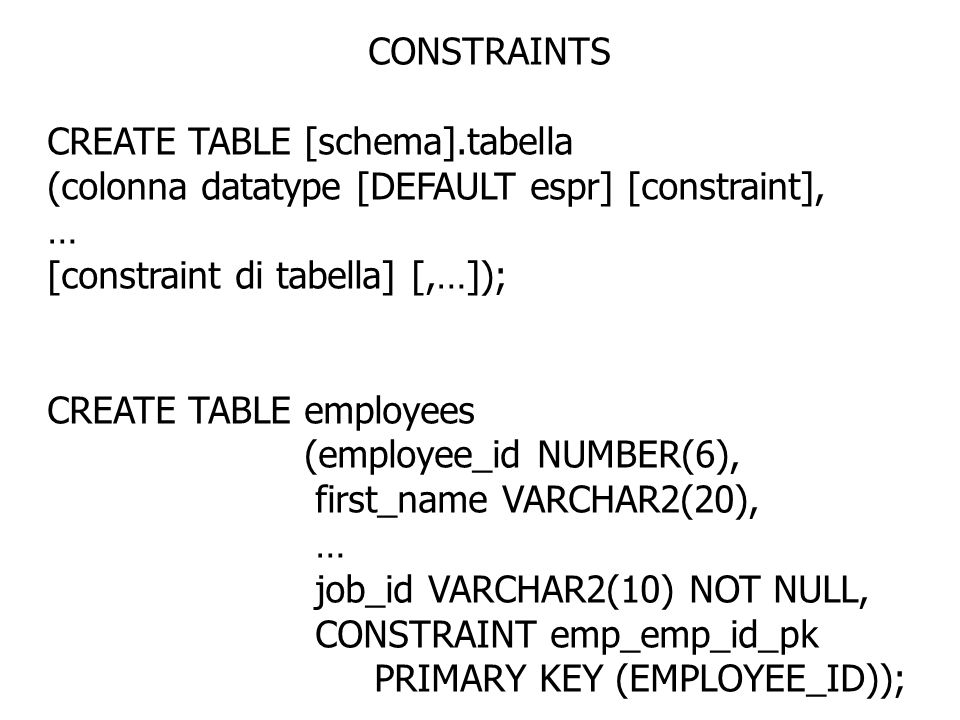 CONSTRAINTS CREATE TABLE [schema].tabella. (colonna datatype [DEFAULT espr] [constraint], … [constraint di tabella] [,…]);